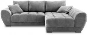 Sivá rozkladacia rohová pohovka so zamatovým poťahom Windsor & Co Sofas Nuage, pravý roh