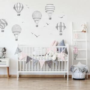 Sivé balóny - samolepky do detskej izby