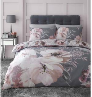 Sivé obliečky Catherine Lansfield Dramatic Floral, 135 x 200 cm