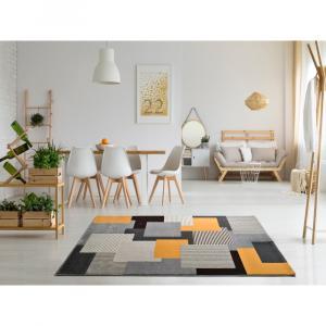 Sivo-oranžový koberec Universal Leo Square, 80 x 150 cm
