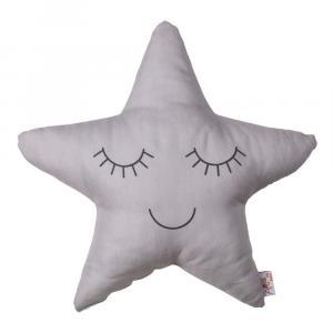 Sivý detský vankúšik s prímesou bavlny Apolena Pillow Toy Star, 35 x 35 cm