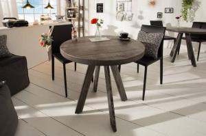 Sivý okrúhly jedálenský stôl Iron Craft 80cm