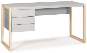 Sivý písací stôl s nohami z borovicového dreva Marckeric Frank
