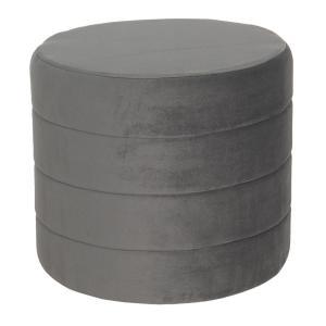 Sivý puf sa zamatovým poťahom Salome - Ø 40 * 35 cm