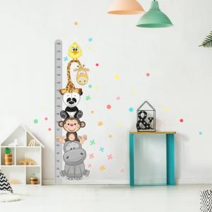 Sivý samolepiaci detský meter na stenu