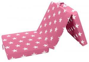 Skladací matrac Samba, ružový so vzorom hviezd