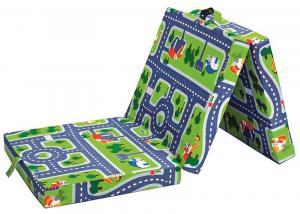 Skladací matrac Samba, zelený s motívom autodráhy