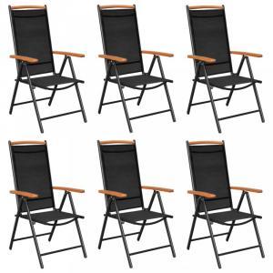 Skladacia záhradná stolička 6 ks čierna / hnedá Dekorhome