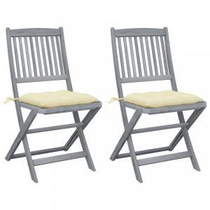 Skladacia záhradná stolička s poduškami 2 ks sivá Dekorhome Krémová