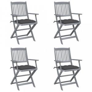 Skladacia záhradná stolička s poduškami 4 ks akácie Dekorhome Antracit