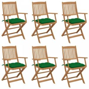 Skladacia záhradná stolička s poduškami 6 ks Dekorhome Zelená