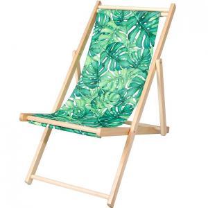 Skladacie drevené ležadlo zelené