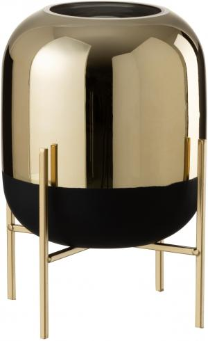 Sklenená čierno-zlatá dekoračné váza na podstavci - Ø 20 * 27cm