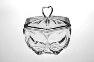 Skleněná dóza, průměr 13 cm, český křišťál, Crystal Bohemia