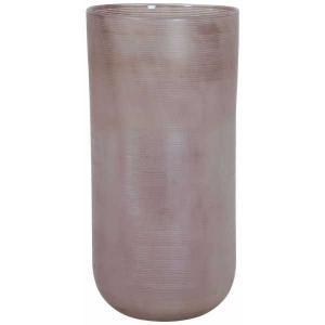 Sklenená prúžkovaná ružová váza Tallegna - Ø 20 * 42 cm