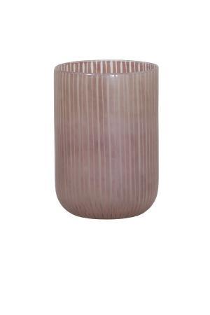 Sklenená prúžkovaná ružová váza Tollegno - Ø 16,5 * 22 cm