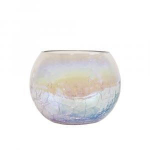 Sklenený dúhový svietnik s popraskanú štruktúrou - Ø10 * 8 cm