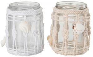 Sklenený svietnik na čajovú sviečku s ozdobnými provázky- 7,5 * 7,5 * 9,5 cm