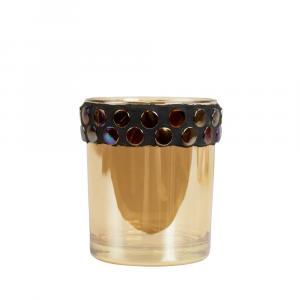 Sklenený svietnik na čajovú sviečku so zdobeným hrdlom - 7 * 7 * 8,5cm