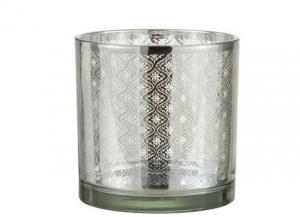 Sklenený svietnik so strieborným ornamentom Oriental silver - Ø 15*15cm