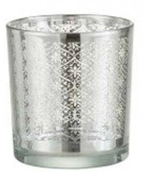 Sklenený svietnik so strieborným ornamentom Oriental silver -Ø 7*8cm