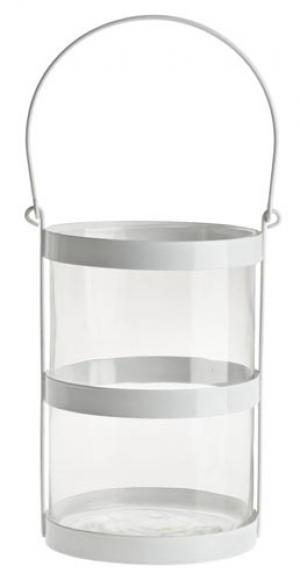 sklenený svietnik v kovom bielom podstavci 12,5 x 19,5 cm
