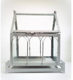skleník vintage šedý 28 x 15 x 24 cm