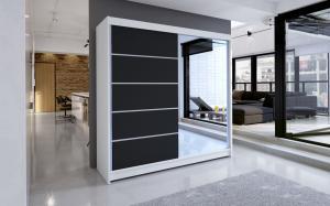 Skriňa s posuvnými dverami Alusia 180 cm čiernobiela