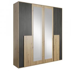 Skriňa so zrkadlom 4D, dub artisan/čierna borovica nórska, BAFRA