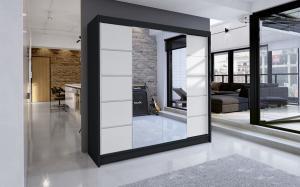 Skriňa so zrkadlom čiernobiela Rilian 180 cm