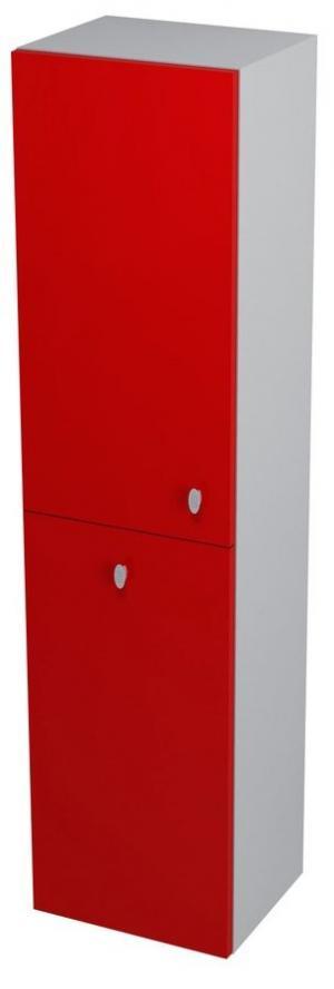 Skrinka AILA vysoká s košom, 35x140x30cm, červeno-strieborná - Pravá