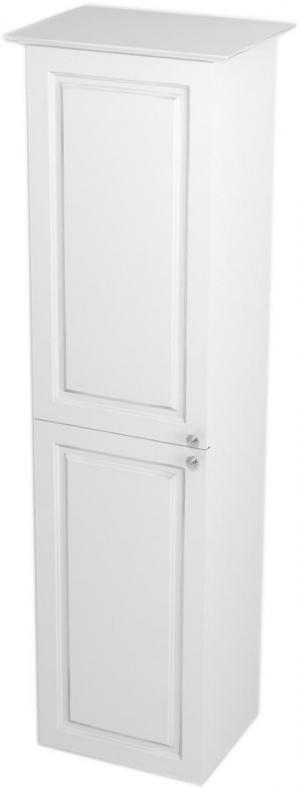 Skrinka vysoká VIOLETA s košom , 35 x 140 x 30, biela pololesk - Lavá