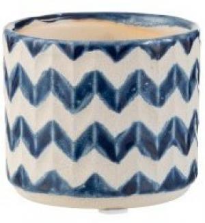 Slovenština  Keramický modro béžový kvetináč so vzorom zigzag - 8*8*7 cm