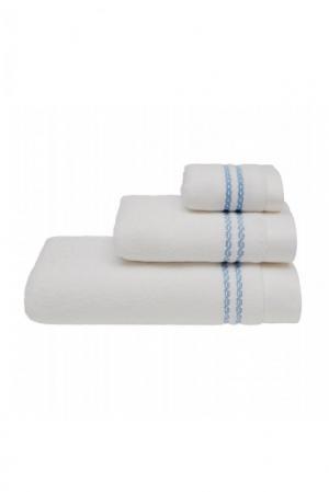Soft Cotton Osuška CHAINE 75X150 cm. Rýchloschnúca froté osuška CHAINE 75X150 cm. Jemnosť a hebký povrch osušiek CHAINE je zárukou najvyššej kvality. Biela / modrá výšivka