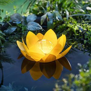 Solárna plávajúca dekorácia Lotus, žltá