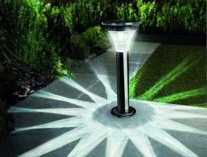 Solárne senzorové LED osvetlenie stĺpikové čierny nikel II