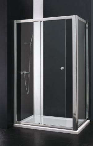 Sprchový kút Aquatek MASTER R23 chrom, biela 120x80 - biely / Caramel
