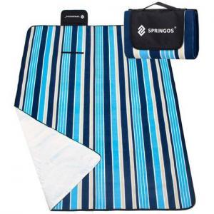 SPRINGOS Pikniková deka 130 x 170 cm - pruhy - modrá