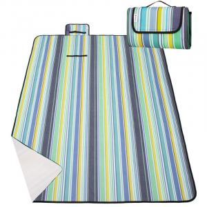 SPRINGOS Pikniková deka 130x170 - modro-zelené pruhy