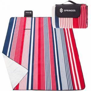 SPRINGOS Pikniková deka 200 x 200 cm pruhy - červeno-modré