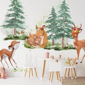 Srnčia rodinka v lese - nálepky na stenu