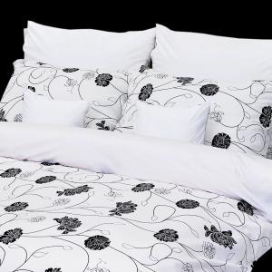 Stanex Luxusné obliečky 100% Bavlna Astra čierno-biela 240x220/2x70x90 cm