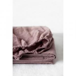 Staroružová ľanová elastická plachta Linen Tales, 90 x 200 cm