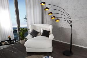 Stojaca lampa Five Lights čierna - zlatá