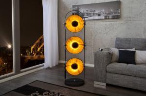 Stojaca lampa Studio čierna - zlatá 3p