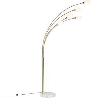 Stojaca lampa v štýle art deco zlatá, 5 žiaroviek - šesťdesiatych rokov Marmo