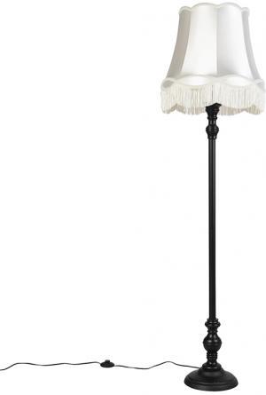 Stojacia lampa čierna s krémovým odtieňom Granny - Classico