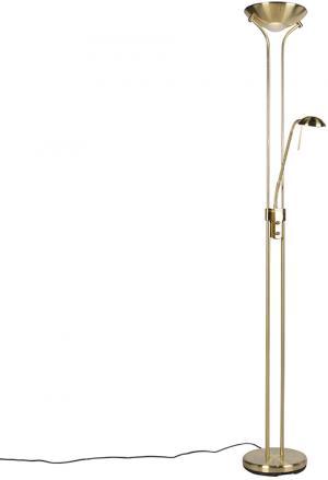 Stojacia lampa zlatá s lampou na čítanie vrátane LED a stmievača - Diva 2