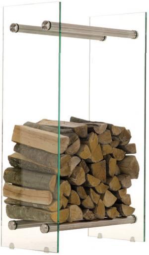 Stojan na drevo Malin, 60x80 cm, číre sklo