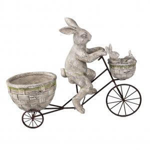 Stojan na kvetináč zajac na bicykli - 53 * 21 * 44 cm